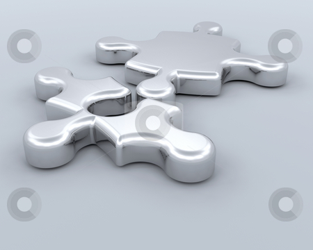 Connections stock photo, 3D render of two puzzle pieces connecting by Kirsty Pargeter