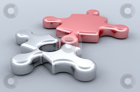 Connections stock photo, 3D render of 2 jigsaw pieces connecting by Kirsty Pargeter
