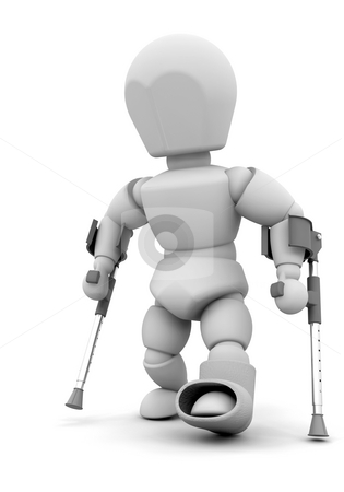 Person on crutches stock photo, 3D render of someone on crutches by Kirsty Pargeter