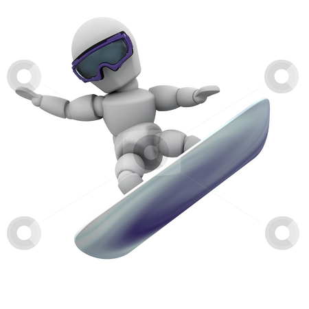 Snowboarder stock photo, 3D render of someone snowboarding by Kirsty Pargeter