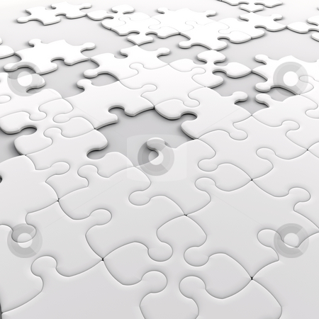 Jigsaw puzzle stock photo, Jigsaw puzzle with missing pieces by Kirsty Pargeter