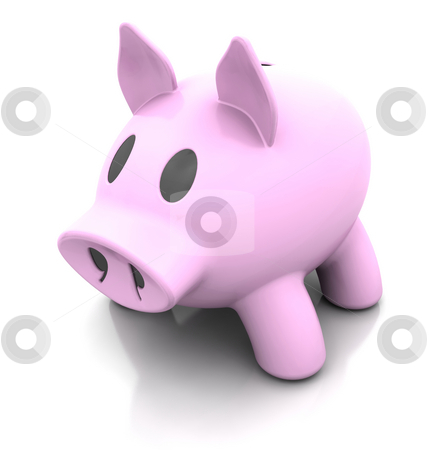 Piggy bank stock photo, 3d render of a traditional pink piggy bank by Kirsty Pargeter