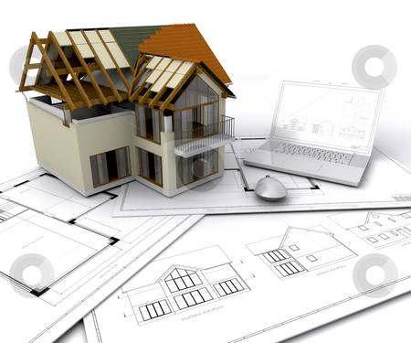 House under construction stock photo, House under construction on plans with laptop by Kirsty Pargeter