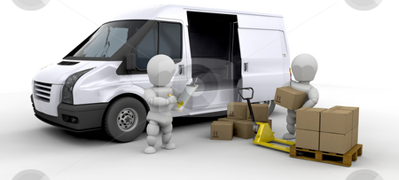 Loading a van stock photo, Workers loading a van with boxes by Kirsty Pargeter