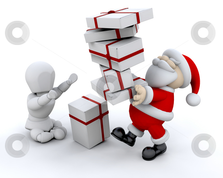 Santa giving gifts stock photo, Santa giving a stack of Christmas gifts by Kirsty Pargeter