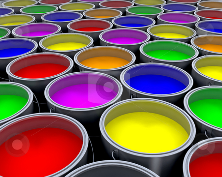 Paint cans stock photo, Background of lots of paint cans by Kirsty Pargeter