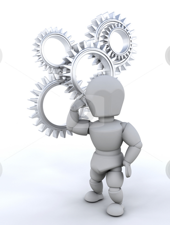 Problem solving stock photo, Someone thinking with gears in background by Kirsty Pargeter
