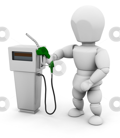 Person with fuel pump stock photo, 3D render of someone with a fuel pump by Kirsty Pargeter