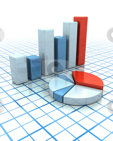 Charts stock photo, 3D render of a bar chart and pie chart by Kirsty Pargeter