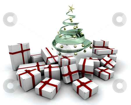 Gifts under a Christmas tree stock photo, 3D render of a stack of gifts under a Christmas tree by Kirsty Pargeter