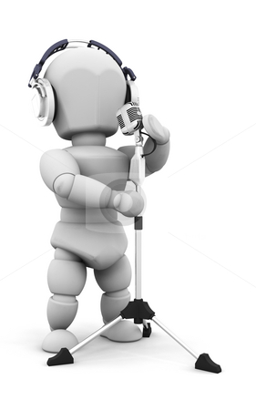 Singer stock photo, 3D render of someone singing at a microphone by Kirsty Pargeter
