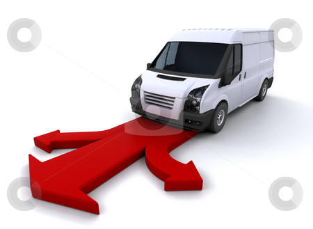 Delivery van stock photo, Delivery van on arrows by Kirsty Pargeter