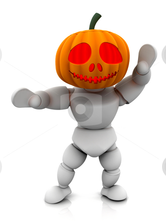 Pumpkin man stock photo, 3D render of pumpkin man by Kirsty Pargeter