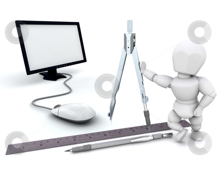 Architect stock photo, 3D render of an architect with tools by Kirsty Pargeter