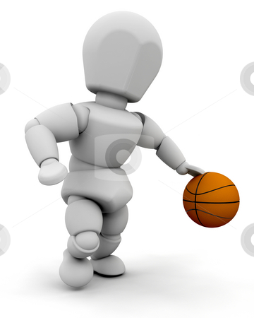 Person with basketball stock photo, 3D render of someone with a basketball by Kirsty Pargeter