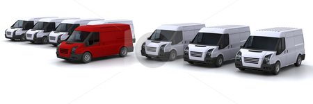 Stand out from the crowd stock photo, One red van standing out from a fleet of white vans by Kirsty Pargeter