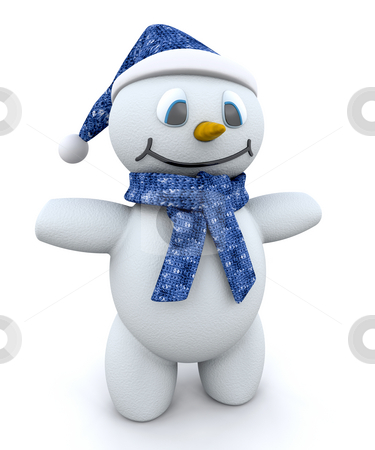 Snowman stock photo, Happy snowman with hat and scarf by Kirsty Pargeter