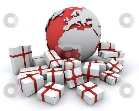 Christmas gifts stock photo, 3D render of Christmas gifts around a globe by Kirsty Pargeter