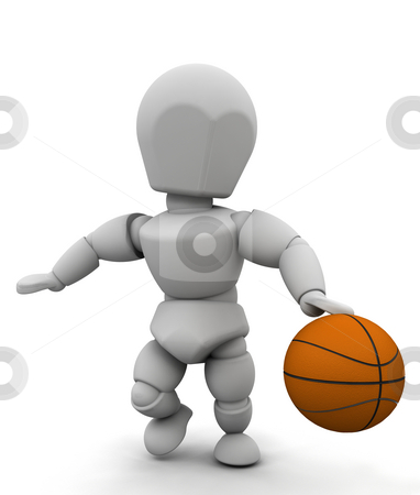 Basketball player stock photo, 3D render of someone playing basketball by Kirsty Pargeter