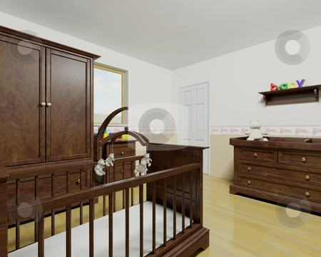 Nursery interior stock photo, Nursery interior with wooden furniture by Kirsty Pargeter