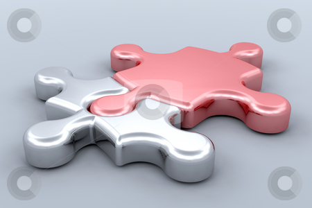 Connected stock photo, 3D render of jigsaw pieces connected by Kirsty Pargeter