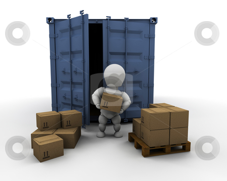Person unloading freight container stock photo, 3D render of someone unloading boxes from a freight container by Kirsty Pargeter