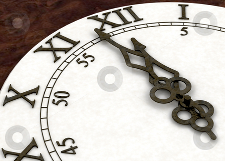 Minutes to midnight stock photo, 3D render of a clock face showing minutes to midnight by Kirsty Pargeter