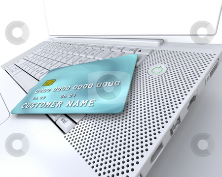 Online shopping stock photo, Generic credit card on computer depicting internet shopping by Kirsty Pargeter