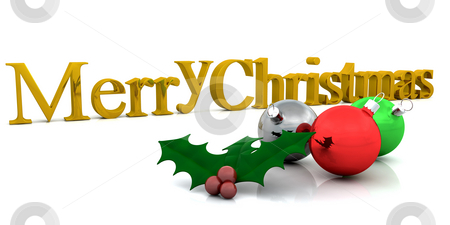 Merry Christmas! stock photo, Christmas background with holly and decorations by Kirsty Pargeter