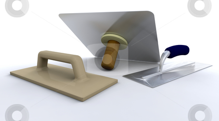 Plasterers tools stock photo, 3D render of plasterers tools by Kirsty Pargeter