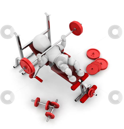 Weight lifting stock photo, 3D render of someone weight lifting by Kirsty Pargeter