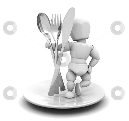 Person with cutlery stock photo, 3D render of someone with cutlery by Kirsty Pargeter