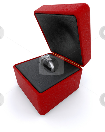 Silver engagment ring stock photo, Silver engagement ring in a red ring box by Kirsty Pargeter