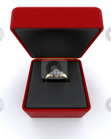 Gold engagment ring stock photo, Gold engagement ring in red box by Kirsty Pargeter