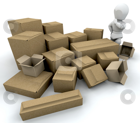 Man with boxes stock photo, 3D render of somone with a stack of boxes by Kirsty Pargeter