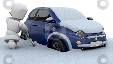 Stuck in snow stock photo, Someone digging their car out of the snow by Kirsty Pargeter