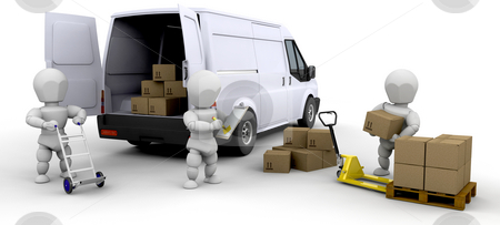 Loading van stock photo, Workers loading a van with boxes by Kirsty Pargeter