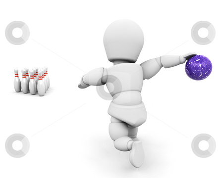 Person bowling stock photo, 3D render of someone ten-pin bowling by Kirsty Pargeter