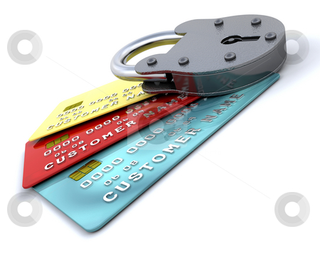 Secure purchases stock photo, Padlock on generic credit cards by Kirsty Pargeter