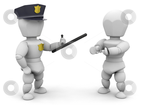 Arrested stock photo, 3D render of a policeman with a criminal by Kirsty Pargeter