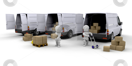 Delivery fleet stock photo, 3D render of people unloading and loading vans by Kirsty Pargeter
