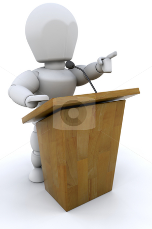 Speaker stock photo, 3D render of someone speaking at a lecturn by Kirsty Pargeter
