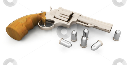 Handgun stock photo, 3D render of a handgun with bullets by Kirsty Pargeter