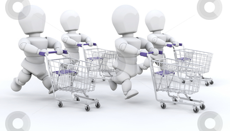 People shopping stock photo, People running with shopping trolleys by Kirsty Pargeter