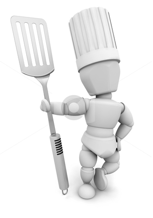 Chef with spatula stock photo, 3D render of a chef with a spatula by Kirsty Pargeter