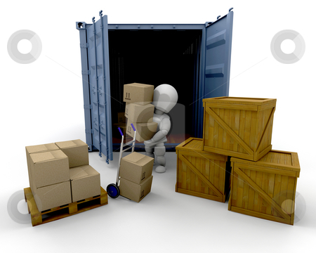 Unloading boxes stock photo, 3D render of someone unloading boxes from a freight container by Kirsty Pargeter