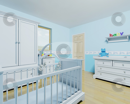 Nursery for a baby boy stock photo, 3D render of a nursery for a baby boy by Kirsty Pargeter