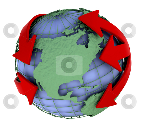 Global stock photo, Globe with arrows going around it by Kirsty Pargeter