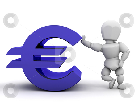 Person with Euro sign stock photo, 3D render of someone with Euro sign by Kirsty Pargeter