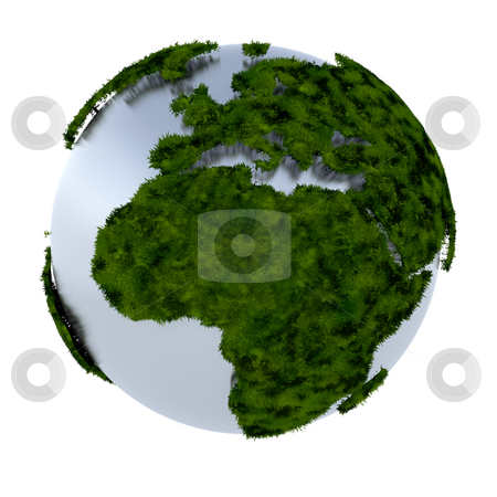 Green earth stock photo, 3D render of an earth made of grass by Kirsty Pargeter